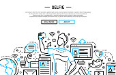 Illustration of vector modern simple line flat design website banner, header with male making a selfie