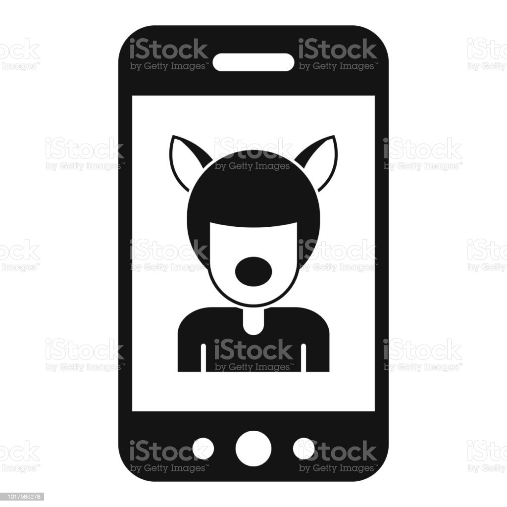 Selfie mask animal icon, simple style vector art illustration
