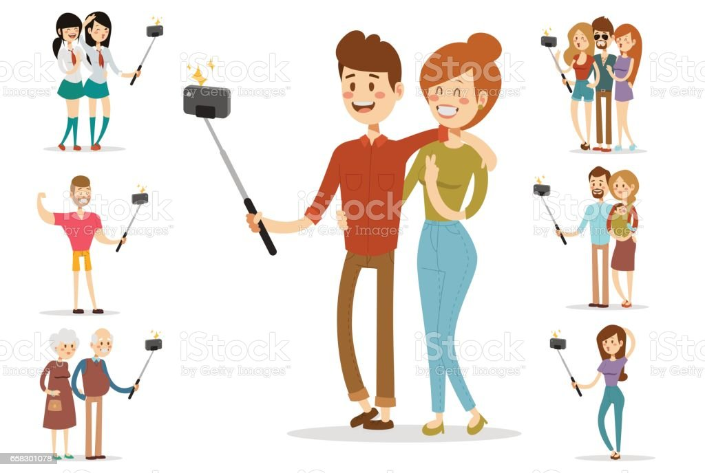 Selfie people isolated vector illustration character photo lifestyle set hipster smart flat camera smartphone person picture couple love vector art illustration