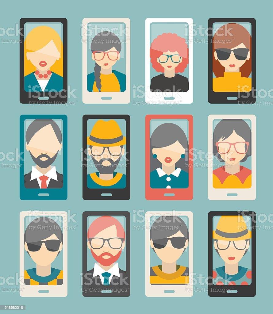 Selfie photo flat collection. Men, woman portrait. Vector. vector art illustration