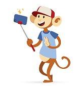 Selfie photo monkey ape boy hipster with cap vector portrait