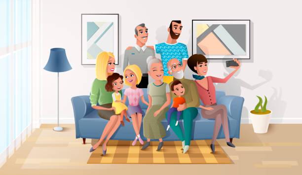 大きな幸せな家族漫画のベクトルの selfie 写真 - 家族写真点のイラスト素材/クリップアート素材/マンガ素材/アイコン素材