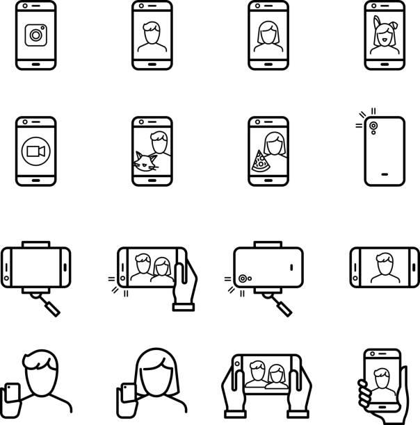 selfie foto menschen fotografieren mit smartphone und einbeinstativ linie vektor-icons - fotohandy stock-grafiken, -clipart, -cartoons und -symbole