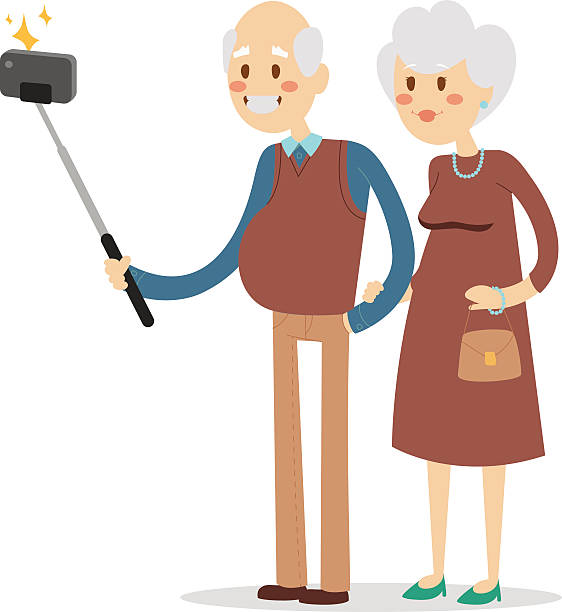 selfie photo shot grandpa and grandma vector portrait illustration - old man pic cartoons stock illustrations, clip art, cartoons, & icons