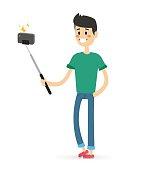 Selfie photo shot man or boy vector portrait illustration