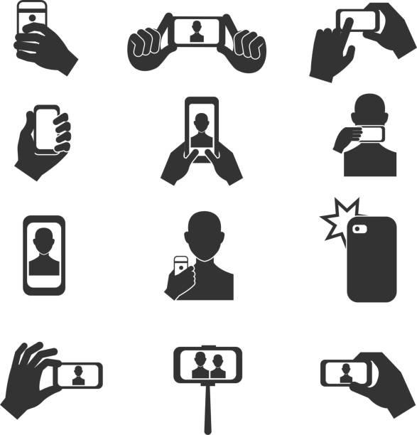 selfie-foto-vektor-symbole gesetzt - fotohandy stock-grafiken, -clipart, -cartoons und -symbole