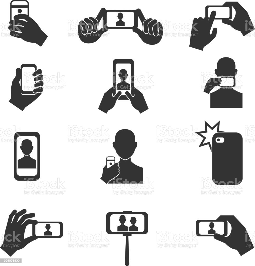 Selfie photo vector icons set vector art illustration