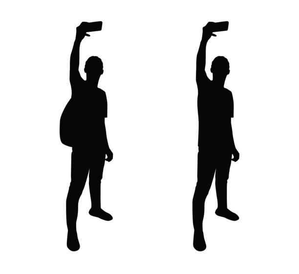 selfie pose mann silhouette - selfie stock-grafiken, -clipart, -cartoons und -symbole