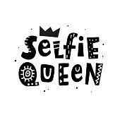 Selfie queen T-shirt print. Female hand lettering phrase. Funny creative quote, isolated on white. Tee, mug design, sticker, wall art poster, social media banner template. Vector Typography design