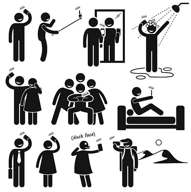 stockillustraties, clipart, cartoons en iconen met selfie stick figure pictogram icons - cell phone toilet
