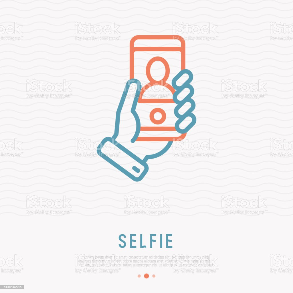 Selfie thin line icon. Hand holding smartphone with silhouette. Modern vector illustration. vector art illustration