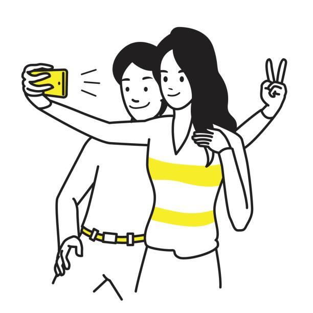 illustrazioni stock, clip art, cartoni animati e icone di tendenza di selfie together lovers - couple portrait caucasian