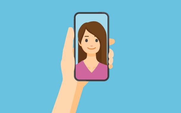 selfie ( selfie ) - ręka człowieka stock illustrations