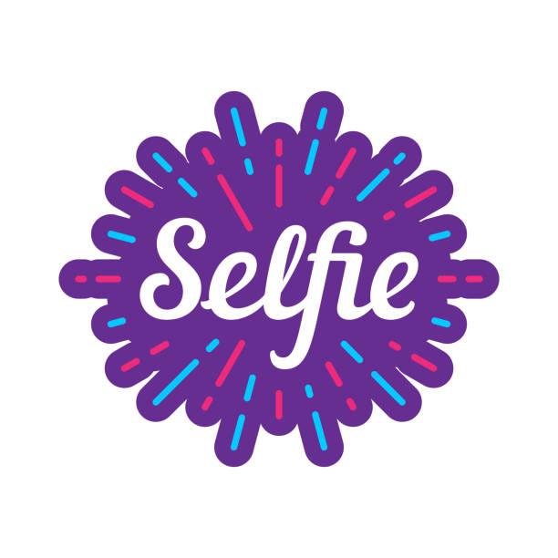 selfie-vektor-logo-design - elegante kleidung stock-grafiken, -clipart, -cartoons und -symbole