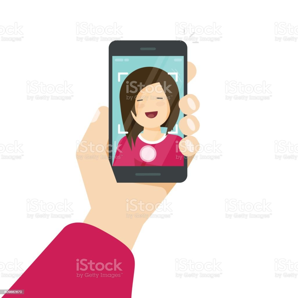 Selfie via smartphone, photo of yourself vector illustration, flat cartoon young happy girl with mobile phone in hand making self photo clipart isolated on white vector art illustration