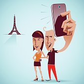 Couple taking a selfie snapshot in front of Eiffel tower, background on separate layer, global colors.