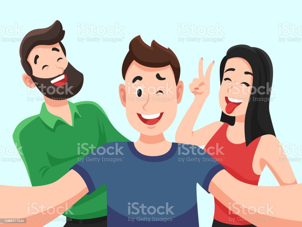 Ilustración De Selfie Con Amigos Adolescentes Sonrientes Amable