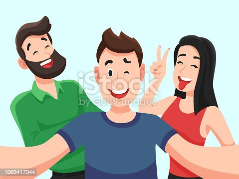Selfie with friends. Friendly smiling teenagers making group photo portrait. Photographed happy friend people taking friendship photos portrait on mobile camera vector cartoon illustration