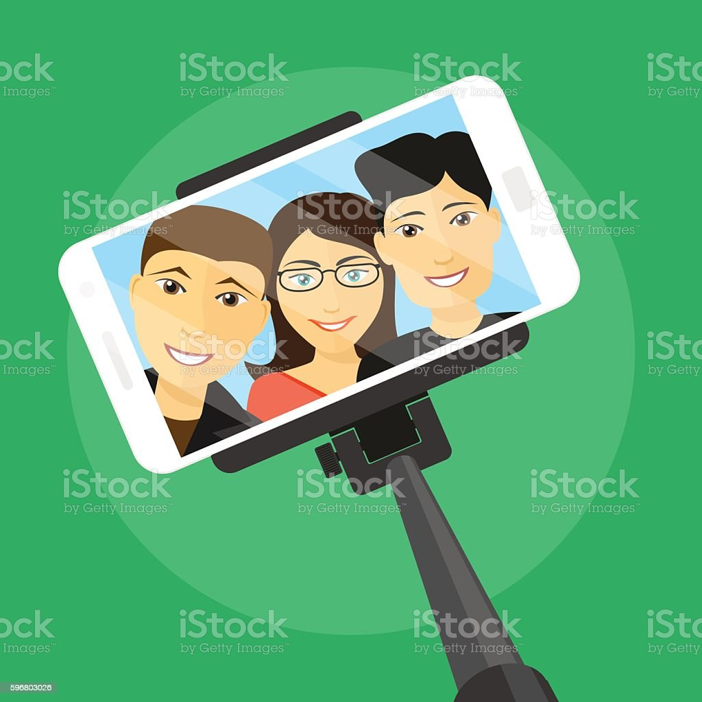 selfie with friends vector art illustration