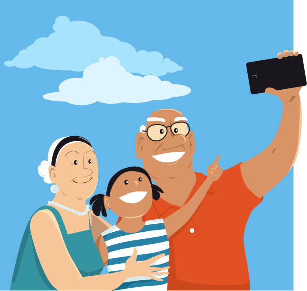 Selfie with grandpa and granny vector art illustration