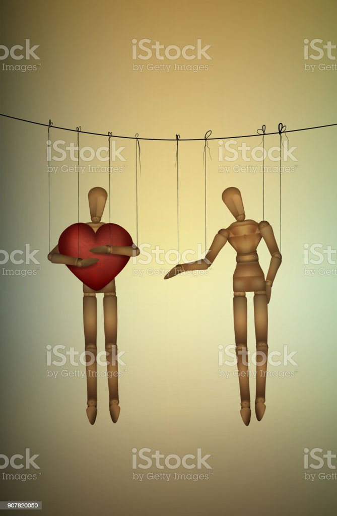 selfish concept, marionette holds big heart and do not share with another, greedy lover, vector art illustration