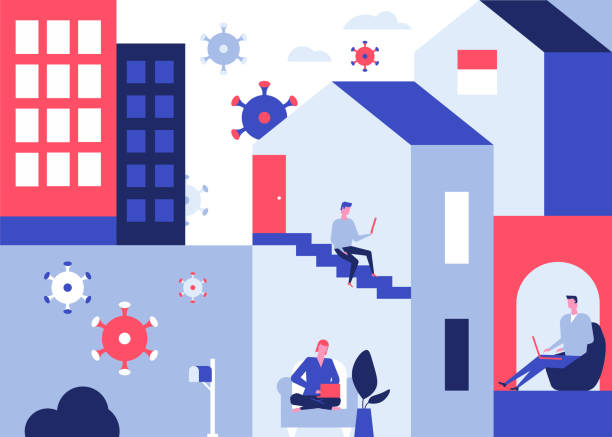 Self-isolation advice - colorful flat design style illustration vector art illustration