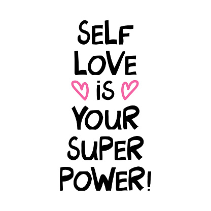 Selflove is your super power. Cute hand drawn lettering in modern scandinavian style. Isolated on white. Vector stock illustration.