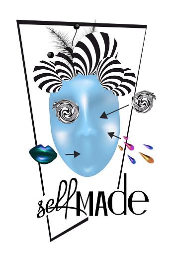Self-made slogan and abstract woman face. T-shirt design. Vector illustration