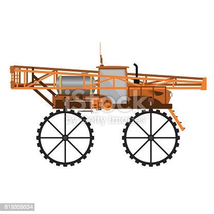 Self-propelled sprayer. Vector illustration