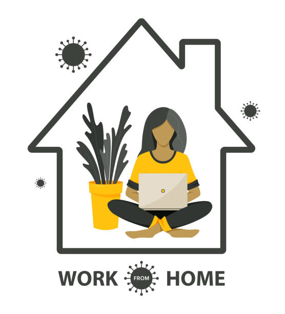 self-quarantine concept. work at home during an outbreak of the covid-19 virus. - working from home stock illustrations