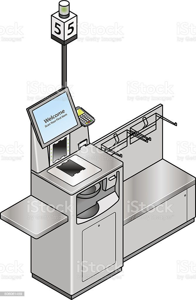 Self-service Checkout vector art illustration