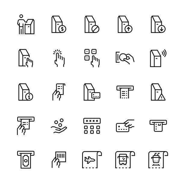 Self-Servis terminalleri Icon set. Vektör simgeler. vektör sanat illüstrasyonu