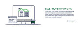 Sell Property Online Concept with Line Computer Illustration. Minimal Design for Web Banner, Poster, Flyer and Brochure Template with Editable Stroke.