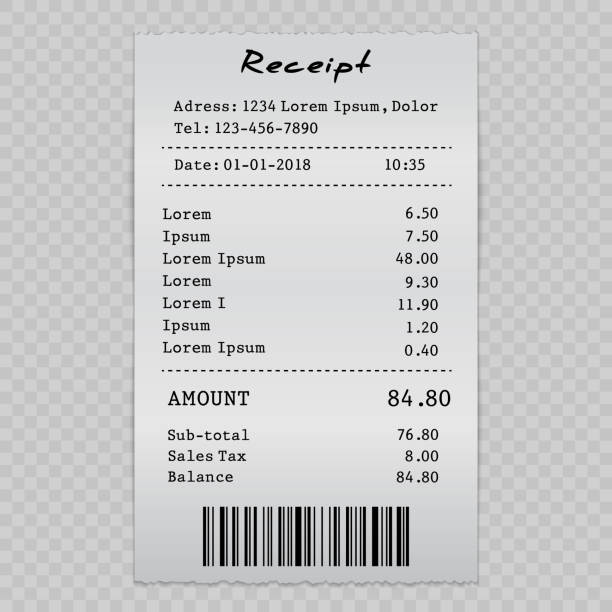 sell receipt vector paper check, sell receipt or bill template receipt stock illustrations