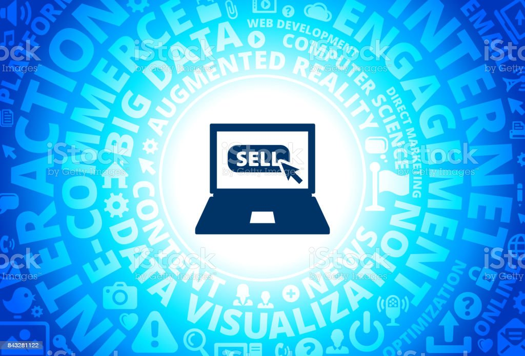 Sell Sign on Laptop Icon on Internet Modern Technology Words Background vector art illustration