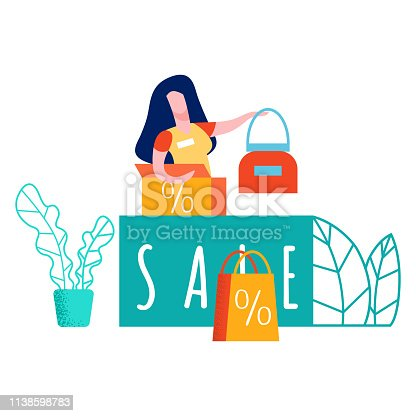 Seller at Cashier Desk Color Vector Illustration. Consultant at Warehouse. Handbags Seasonal Deals. Sale Word on Stand. Plant, Leaf. New Goods, Products. Successful and Effective Marketing