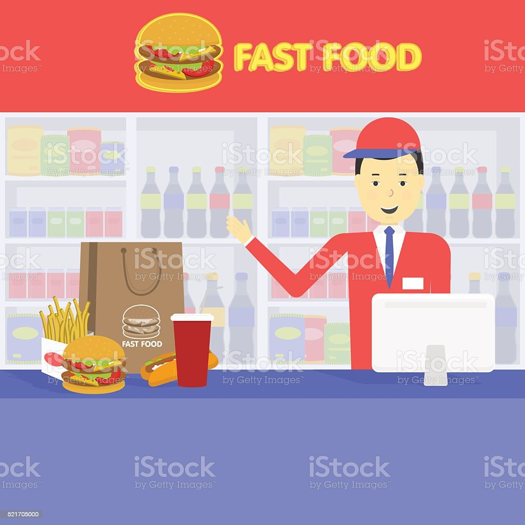 Seller fast food and tray with cola, hamburger, french fries vector art illustration