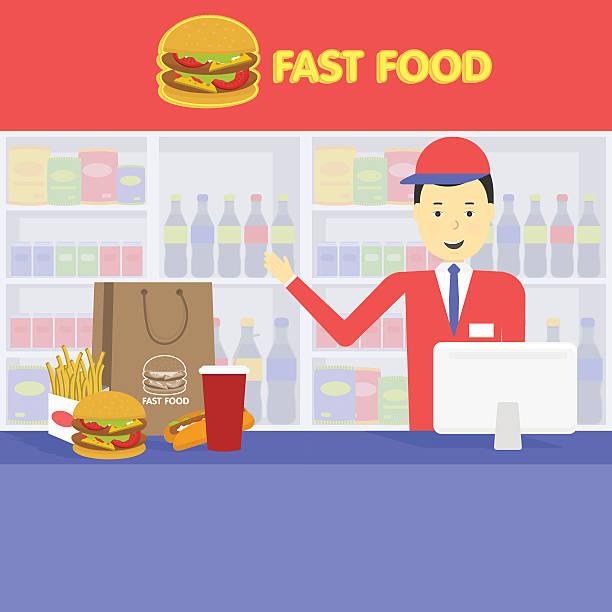 ilustraciones, imágenes clip art, dibujos animados e iconos de stock de vendedor de comida rápida y bandeja con cola, hamburguesas, papas fritas - busy restaurant kitchen