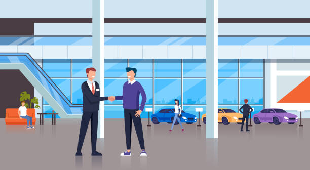Seller man shaking hand with consumer client character. Cars shop store concept. Vector design flat graphic cartoon illustration Seller man shaking hand with consumer client character. Cars shop store concept. Vector design flat graphic cartoon car salesperson stock illustrations