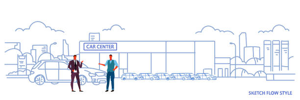 seller man with buyer car purchase sale rental concept cars dealership center showroom building exterior new modern vehicles cityscape sketch flow style horizontal banner seller man with buyer car purchase sale rental concept cars dealership center showroom building exterior new modern vehicles cityscape sketch flow style horizontal banner vector illustration car salesperson stock illustrations