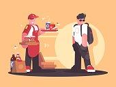 Seller of fastfood in uniform