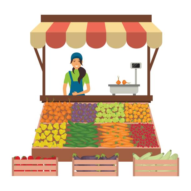 illustrazioni stock, clip art, cartoni animati e icone di tendenza di seller of vegetables and fruits on the market - mercato frutta donna