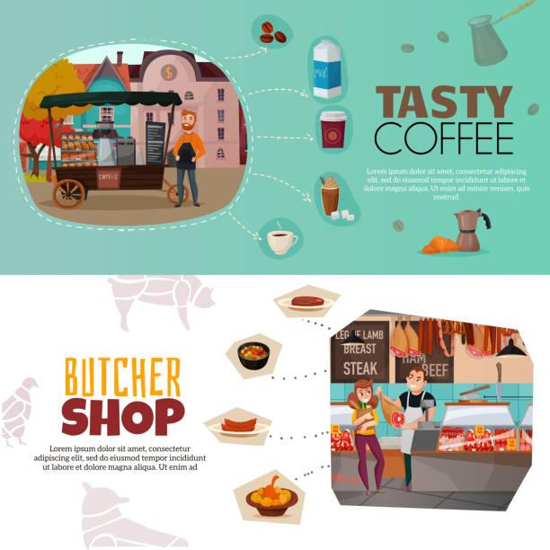 продавцы иллюстрации горизонтальные баннеры - burger and chicken stock illustrations