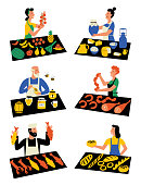 Sellers on marketplace, cartoon characters. Seasonal outdoor market, street food festival. Counters with farm products, meat, dairy, vegetables, honey, fish, bakery. Vector flat illustration.
