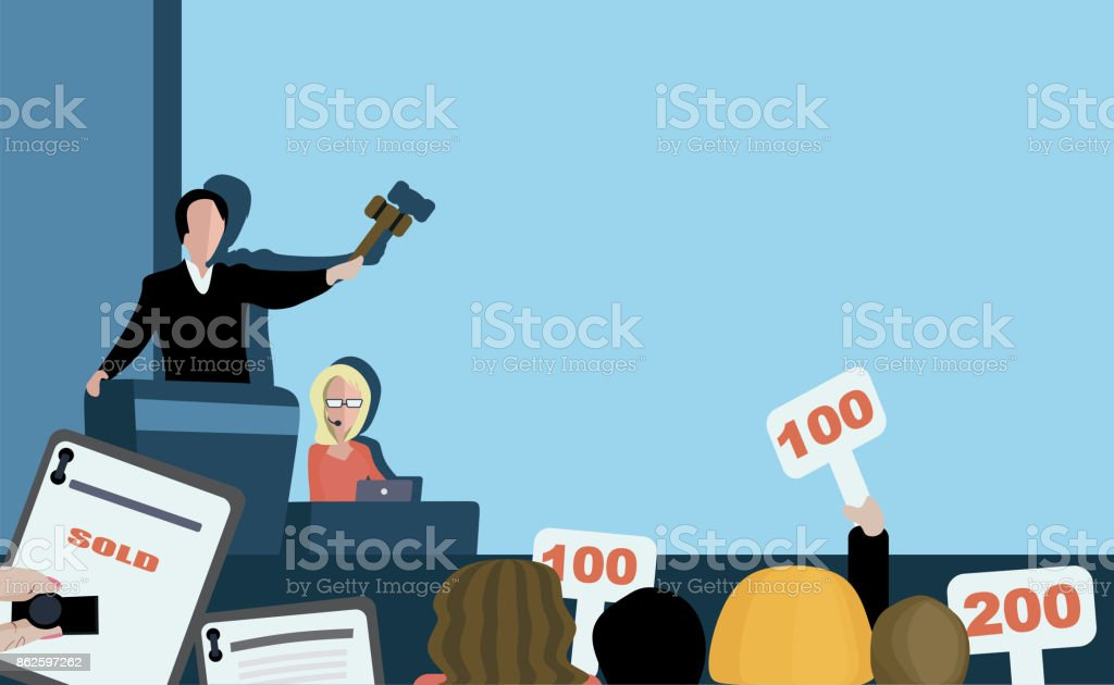 Selling at auction vector art illustration
