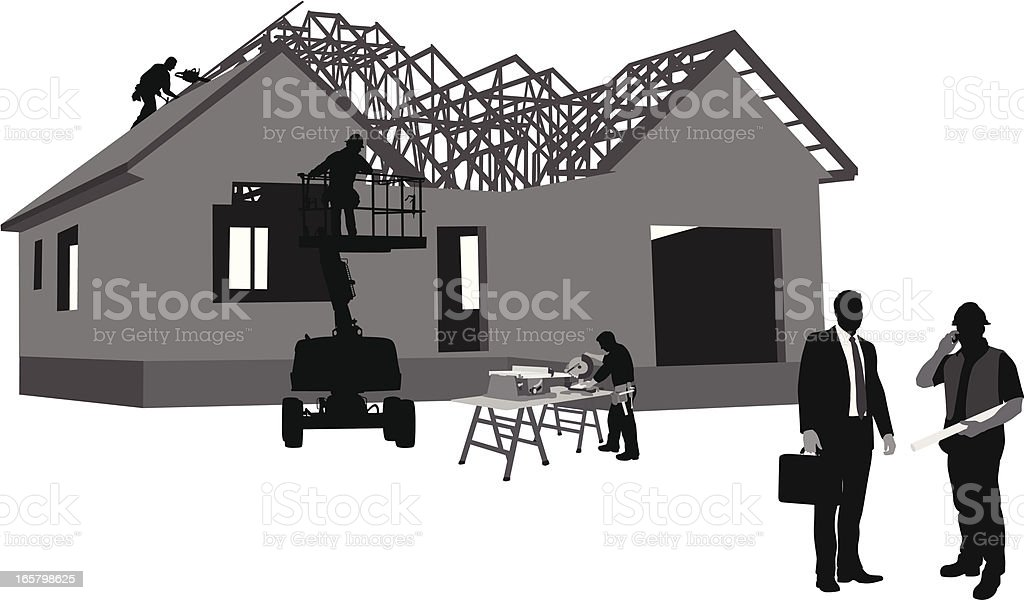 Selling Houses Vector Silhouette royalty-free stock vector art