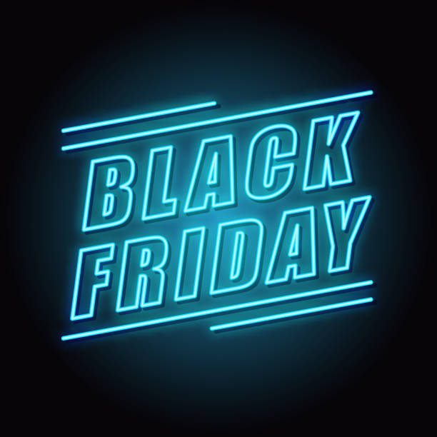 sell-out. neon. black friday - black friday stock illustrations
