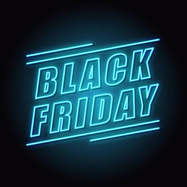 sell-out. neon. black Friday Black friday neon light banner. Vector Illustration. black friday sale neon stock illustrations