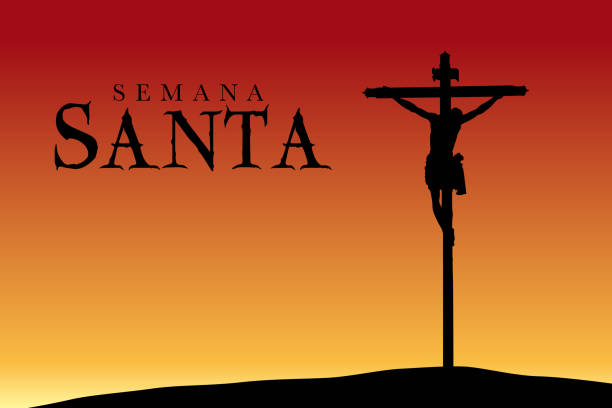 semana santa - holy week in spanish language - silhouette of the crucifixion of christ at sunset - alejomiranda stock illustrations