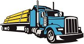 A vector illustration of a semi truck hauling pipe on a flatbed trailer.